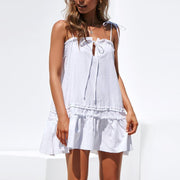 Strap Tie Rope Ruffle Dress