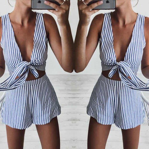 V-Neck Sexy Sleeveless Strap Top Shorts Striped Suit