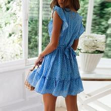 Short-sleeved ruffled V-neck dot print dress