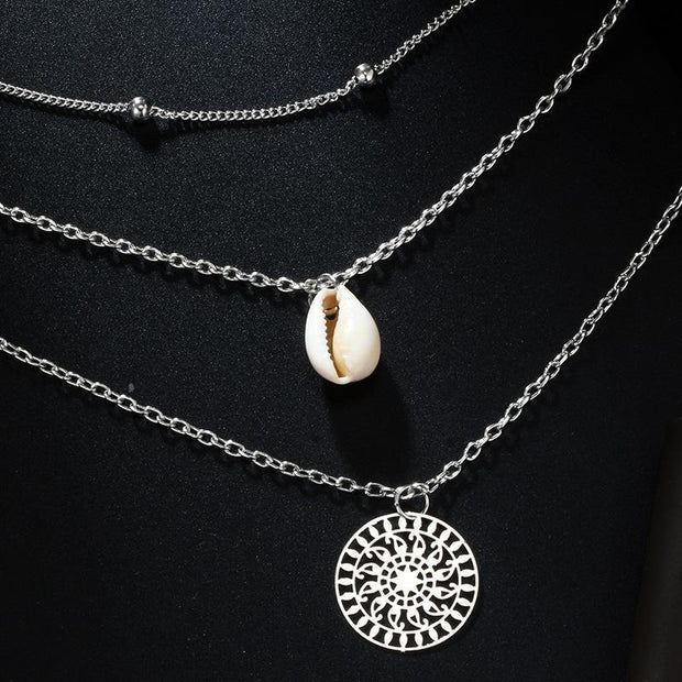 Bohemian Shell Hollow Round Bead Combination Multi-Layer Necklace