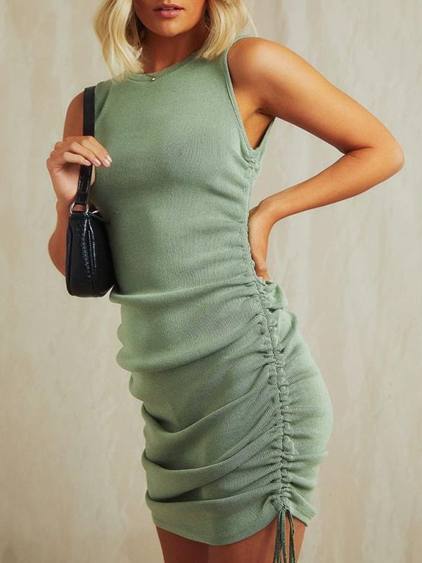 Sexy side drawstring pleated bag hip vest dress