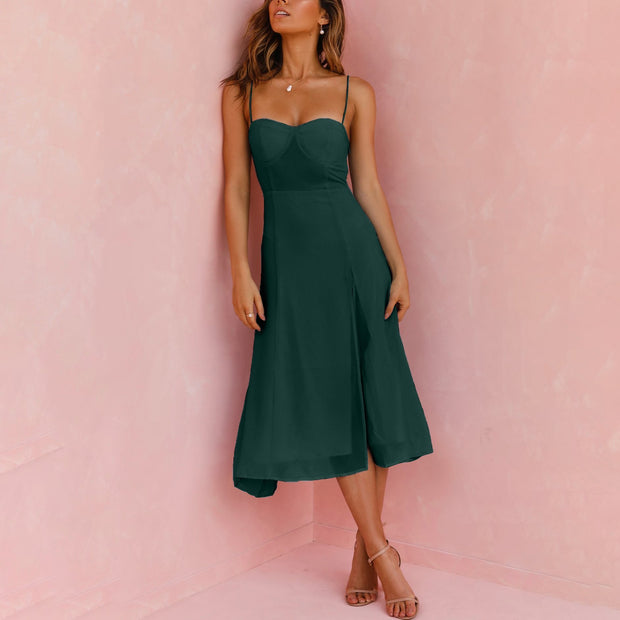 Solid color strapless sexy split midi dress