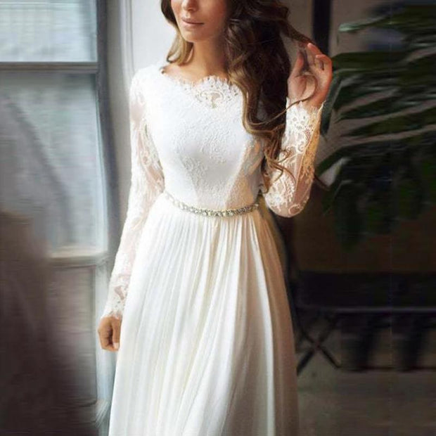 Women's Elegant Bare Back Round Neck Long Sleeve Lace Evening Dress