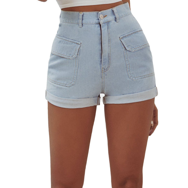 Women Retro Fashion Casual Wild Home Wash Denim Shorts