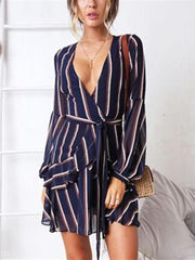 Striped Print V Collar Long-Sleeved Belt Dress