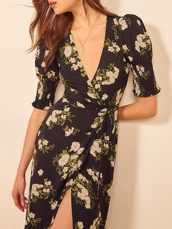 Sexy V-neck vintage side split puff sleeve dress