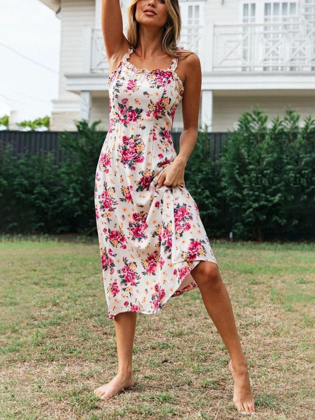 Printed sexy strap ruffled midi dress
