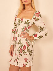 Sexy square neck elastic slim big flower dress