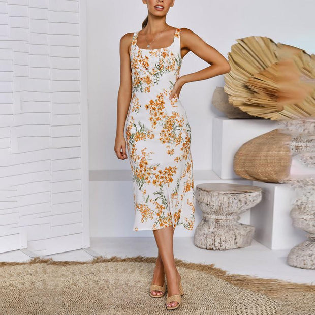 Stylish Wild Flower Print Shoulder Slim Sling Midi Dress