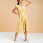 Sexy printed ruffled panel slim fit midi dress