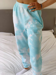 Women Tie-dye Blue Pants