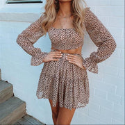 Sweet Square Collar Long Sleeve Top + Pleated Skirt Two Piece Set