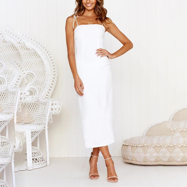Solid Color Sexy Hollow Back Split Sling Midi Dress