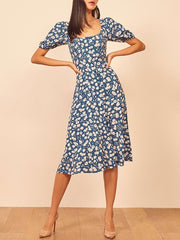 vintage square collar printed short sleeve dress