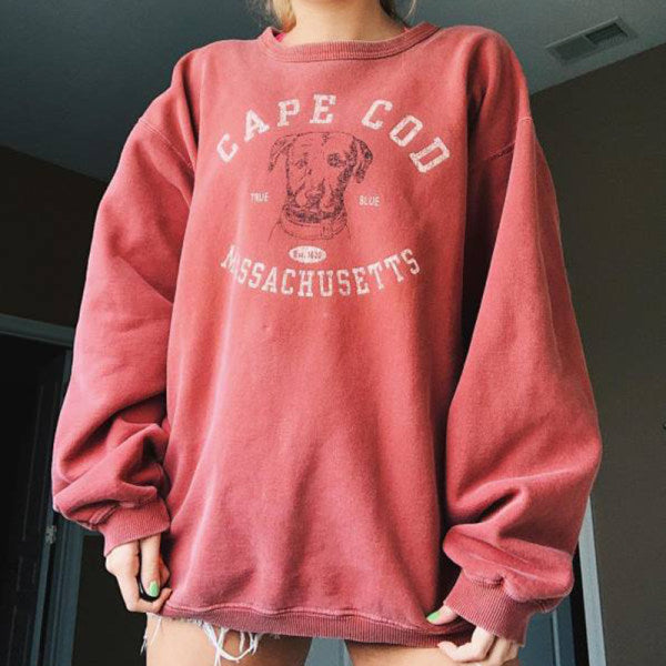 Women's Fashion Round Neck Letter Print Loose Sweatshirt