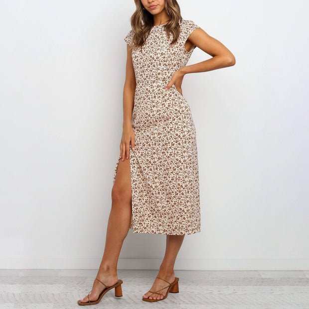 Short Sleeve Round Neck Print Midi Dress