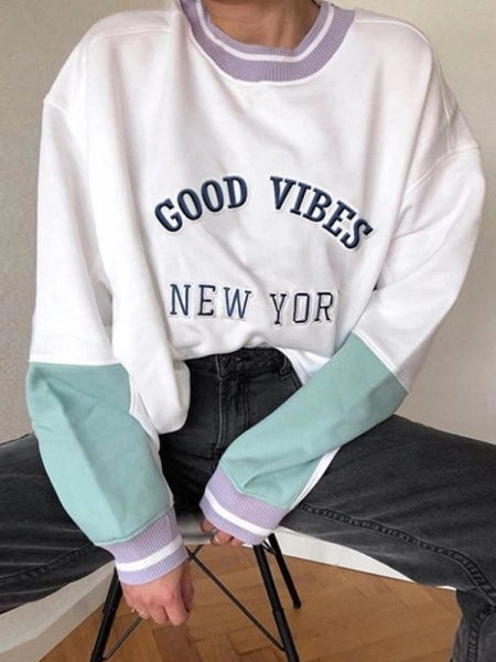 WOMEN'S CASUAL COLOR MATCHING ROUND NECK LONG-SLEEVED SWEATSHIRT
