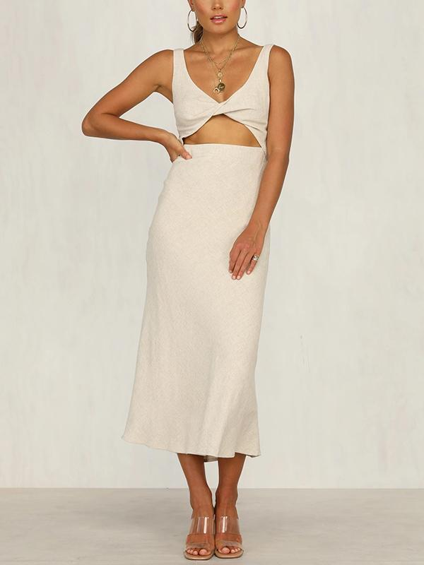Front Cut Out Wrap Bust Midi Dress
