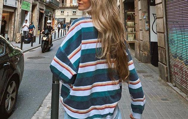 Women Striped loose casual basic T-shirt