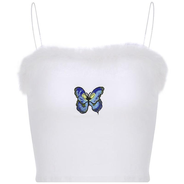 Women sweet embroidery butterfly fur small crop top