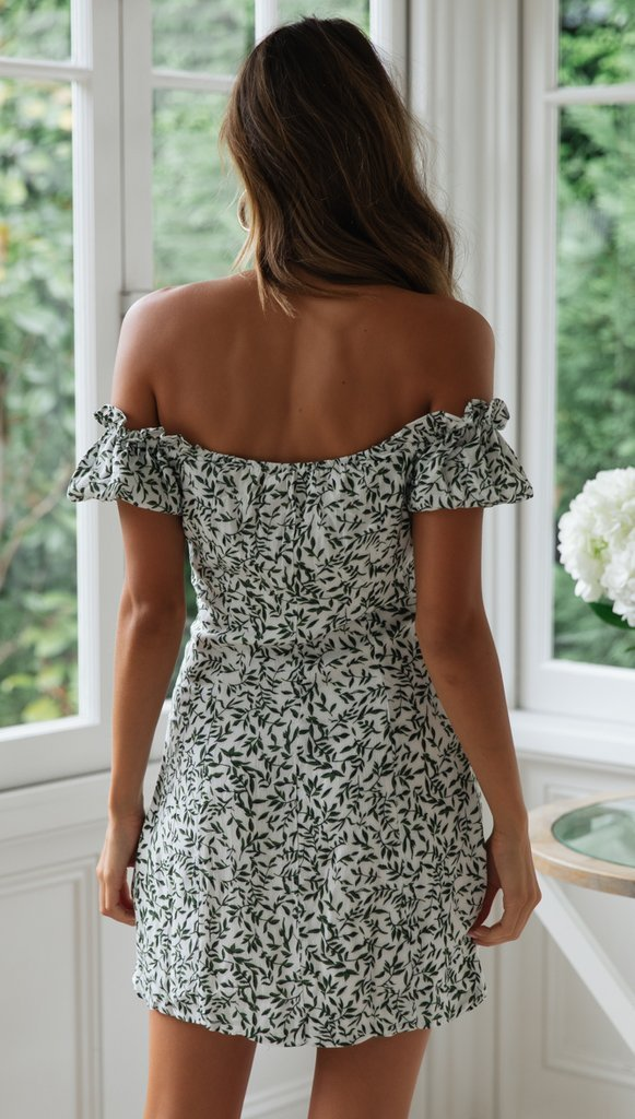 Women Leaf Print Single-Breasted mini Dress