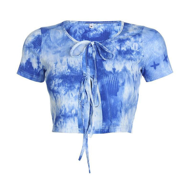 Women's fashion tie-dye slim short cardigan exposed navel crop top