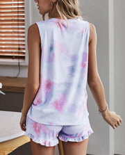 Women's Comfortable Casual Sleeveless Round Neck Tie Dye Sets