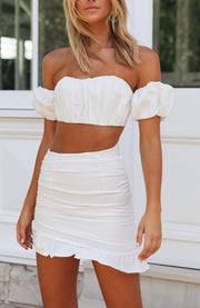 Women's Solid Color Collar Bandeau Fold Set