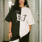 Women Black and white contrast butterfly print loose short sleeve T-shirt