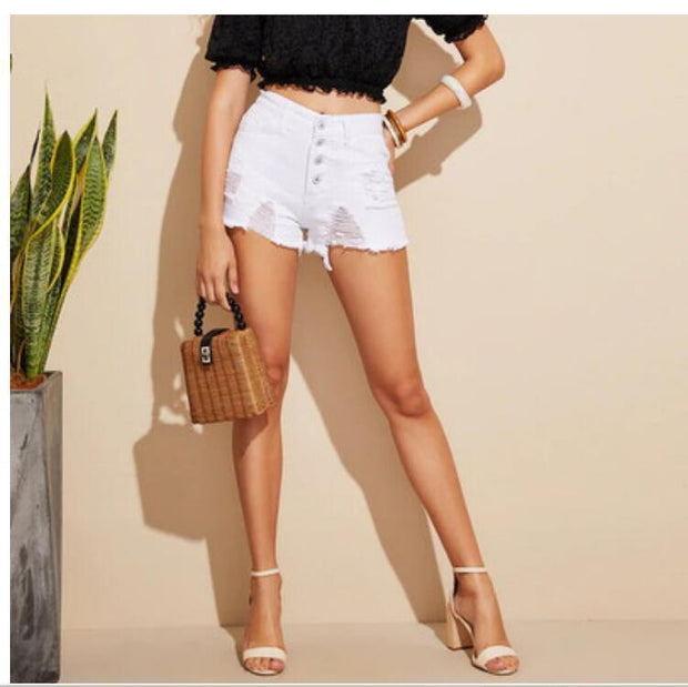 Womens slim high-rise ripped denim shorts