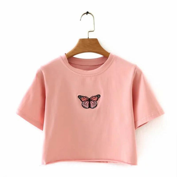 Butterfly embroidered loose curled short-sleeved exposed top