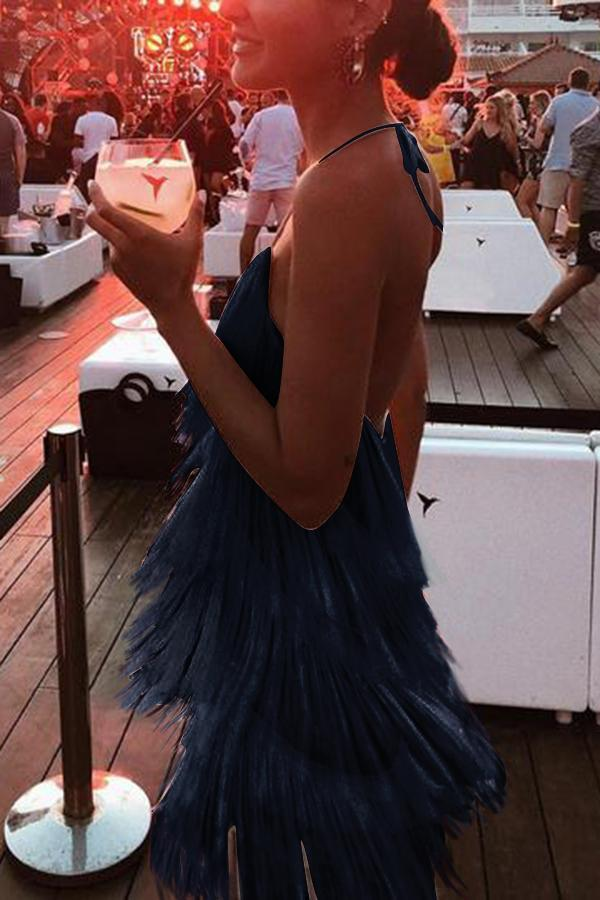 Sexy White Tassel Backless Sleeveless Maxi Dress