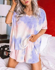 Women Multicolor Twist Tie Dye Pajamas Sets