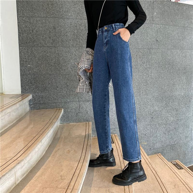 Handsome loose straight jeans