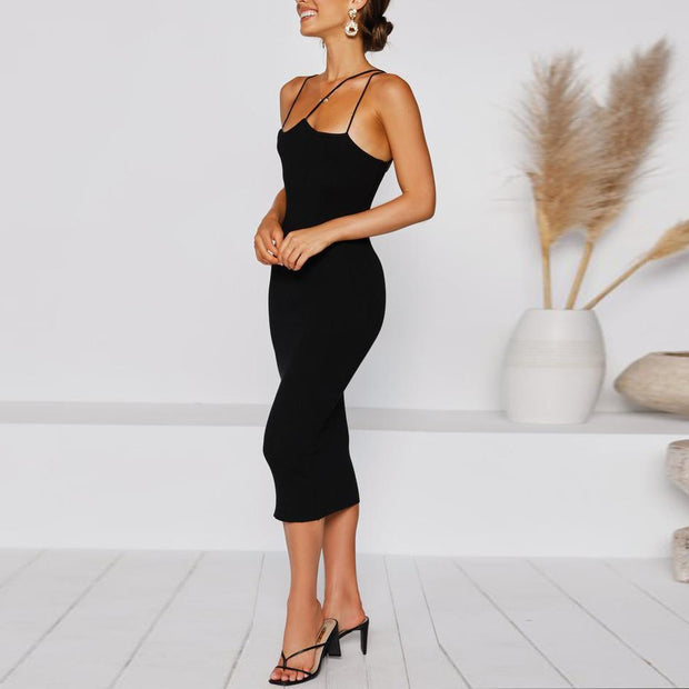 Solid Color Slim Fit Midi Dress