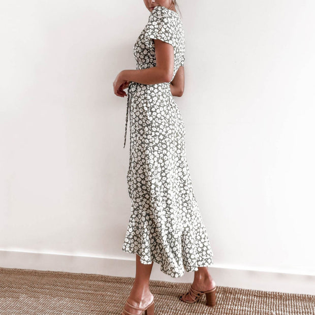 Temperament ladylike floral midi dress