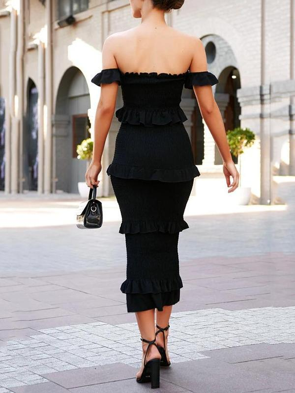 Off The Shoulder Shirred Ruffle Midi Dress
