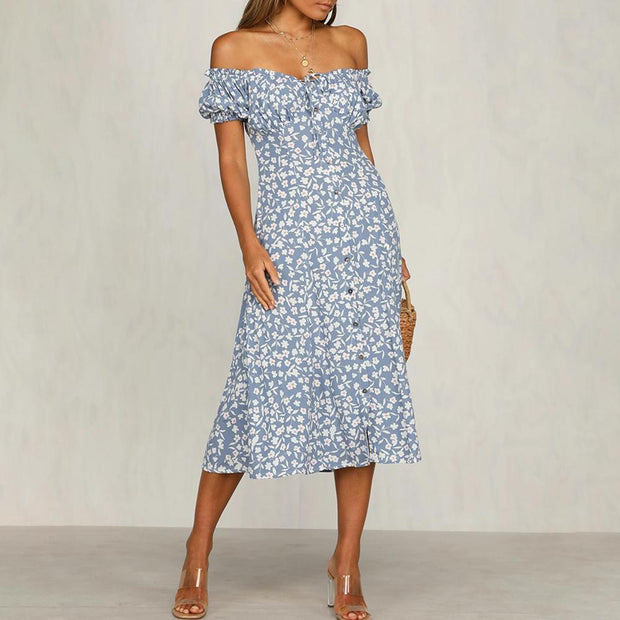 Fashionable temperament French midi dress