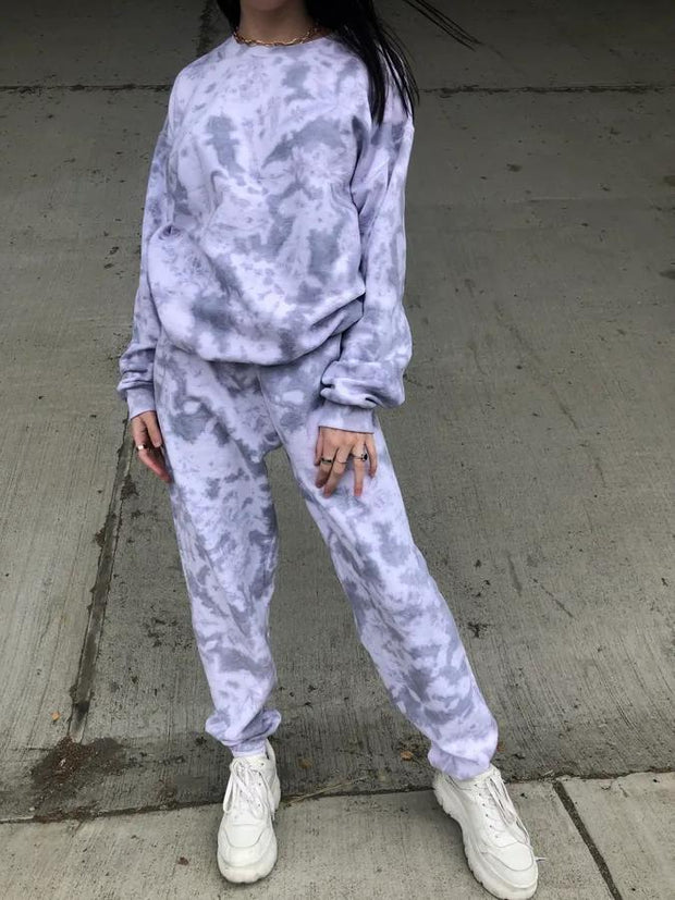 Women Marble Sweat Suit Set