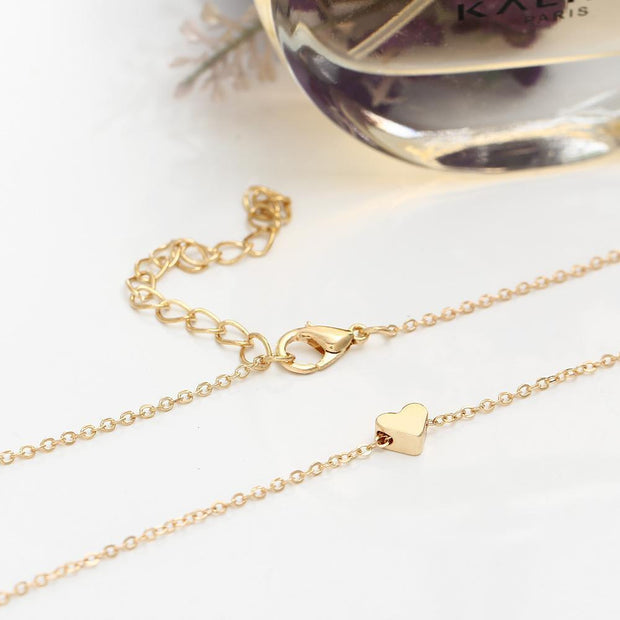 Fashion Alloy Heart Simple Clavicle Necklace