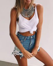 Lace-Paneled Denim Shorts