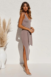 Slim-fit stretch-strap knitted solid maxi bodycon dress-4 colors