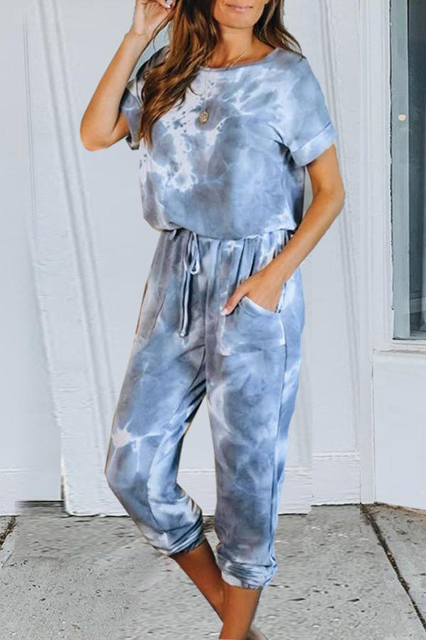 Tie-dye Casual Drawstring Two-piece Suit