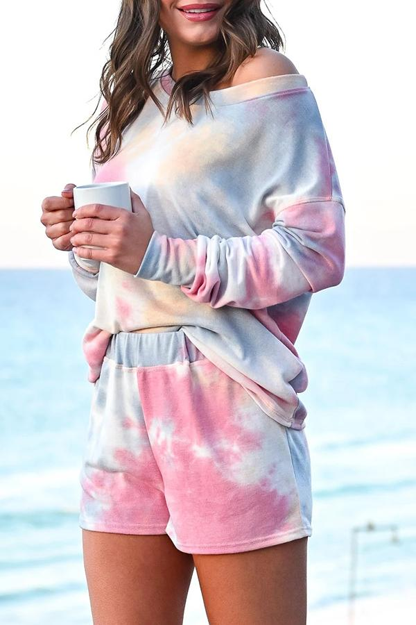 Tie-dye Long Sleeve Top & Shorts Two Piece Suit