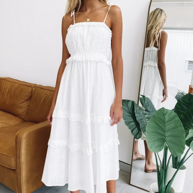 Sweet girl style solid color suspenders Midi dress