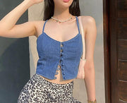 Women single-breasted sling fashion wild crop top