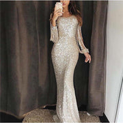 Long Sleeve Tassel Evening Dress