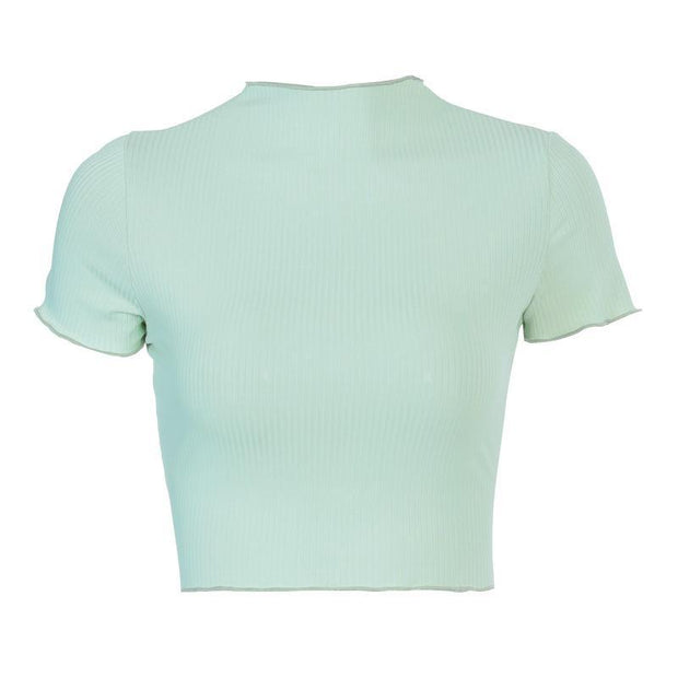 Solid color round neck slim slim short sleeve top