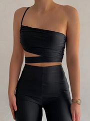Sexy asymmetric one-shoulder cutout camisole