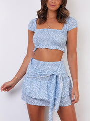 cap sleeve Shirred Two-piece set